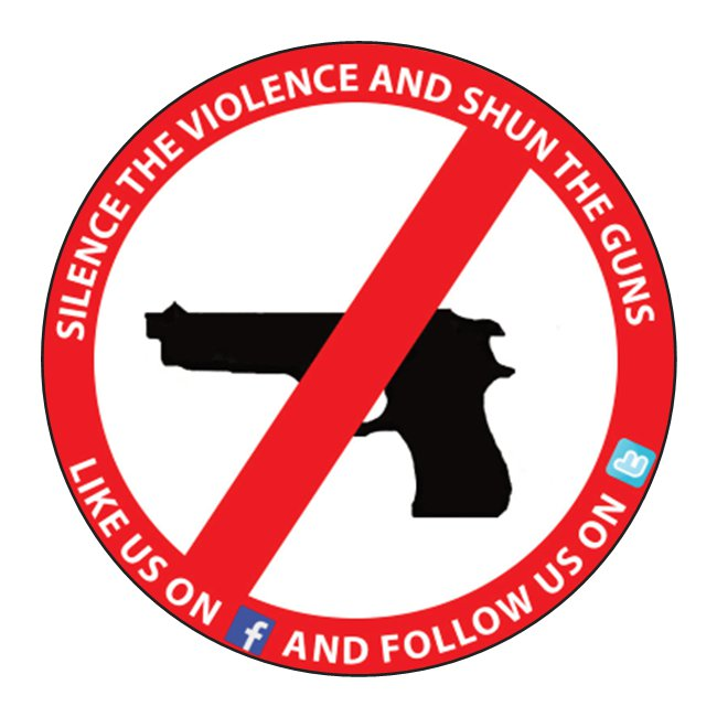 Silence the Violence and Shun the Guns sticker