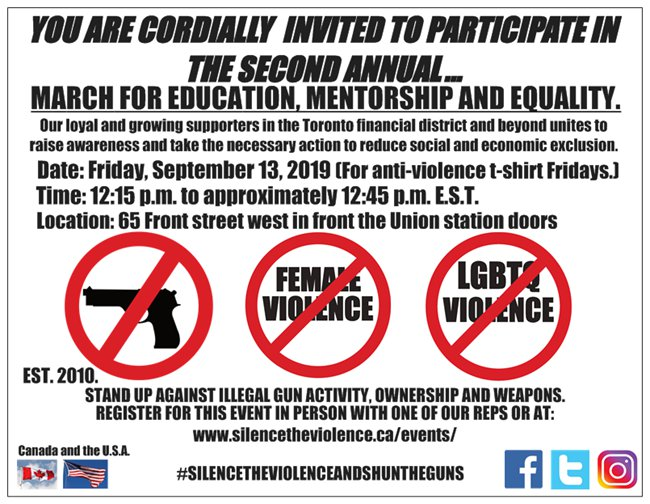 March for education, mentorship and equality event postcard 2019