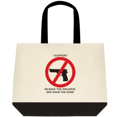 Silence the Violence and Shun the Guns two-tone tote bag